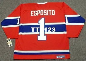 Men # 1 Esposito, Tony T Montreal Canadiens 1968 CCM vendimia Lejos Jersey del hockey o costumbre cualquier nombre o número retro Jersey