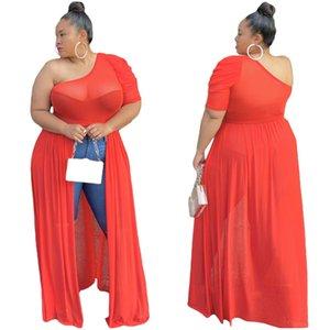 Женщины сетки См Хотя одно плечо рукава высокого Разделить Maxi платье Sexy Party Club Пляж Блузы Длинные платья