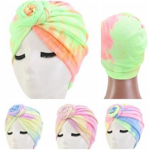Muslim Dyeing Flower Cap Comfortable 4Colors Cotton Multifunctional Turban Flower Blend Tie-Dye Flower party hats KKA7989