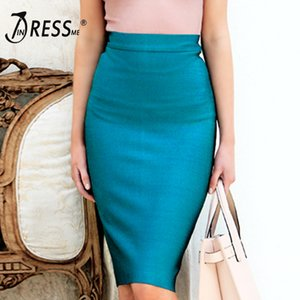 INDRESSME 2019 New Women Bandage Skirt Solid Wear To Work Skirt For Lady Fashion Knee Length Bodycon Skirt T200712