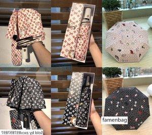 Light Women Windproof Outdoor Ultraviolet Proof Rain Fold Female Portable Sunshade Umbrellas with Gift Box