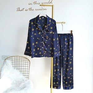 CD8v6 de seda-como los pantalones par ropa de casa con aire acondicionado aire acondicionado del verano pantalones de pijama de dos piezas de satén gasa de manga larga