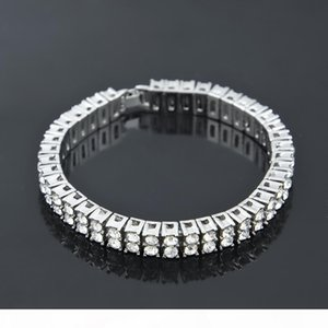 A Hip Hop Men Silver Gold Plated Iced Out 2 Row Rhinestones Bracelet Chain Clear Simulated Diamond Bracelet Men Women