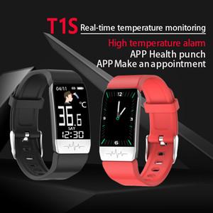 새로운 T1S 스마트 시계는 여성 남성 키즈 바디 온도 측정 혈압 산소 심장 박동 모니터 건강 스마트 팔찌 팔찌
