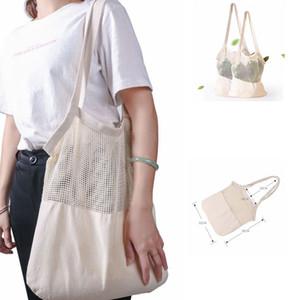 Mesh Yeniden kullanılabilir çanta Pamuk Bakkal Net Pamuk Dize Alışveriş Çantası Eko Pazar Bez Çanta Saklama Poşetleri Ev Organizasyon KKA7979
