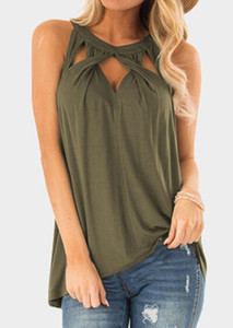 Women Solid Halter Cross Twist Hollow Out Tank Female Army Green Sleeveless Vest Top Summer Ladies Sexy Loose Modern Tops Shirt