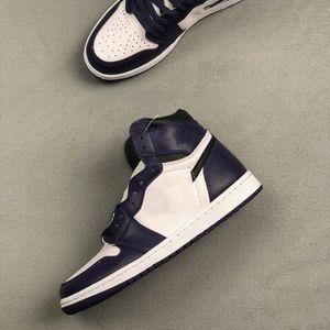 jumpman 1 Mediados de Obsidiana con arena púrpura 554724-445 OBSIDIAN lijada PURPLE WHITEsize 36-45 schoenen las mujeres del diseñador de moda de lujo zapatos de mujer