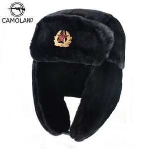 Chapeau CAMOLAND soviétique Trapper Trooper Hommes militaire de l'armée russe Ushanka Bomber Hat Caps chauds d'hiver pilote Faux de fourrure de lapin cache-oreilles T200718