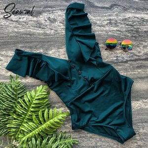 2020 Sexy New Ruffle One Piece Swimsuit Off The Shoulder Swimwear Women Swimsuit Deep-V Bathing Suits Beach Wear Swim Suit MX200613