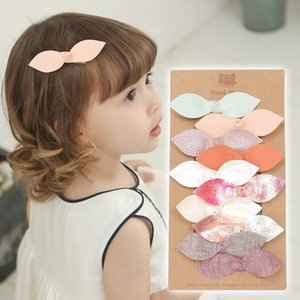 Baby Girls Barrette Kids Candy Color Sweet PU Leather Bokwnot Hair Clip Barrettes Children Girl Hairpins Barrettes 10 colors