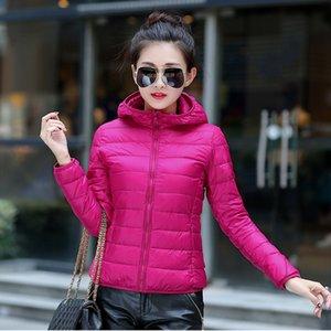 2020 new light down jacket women's short hooded stand collar Korean outdoor thin women's large Down jacket coat size coat