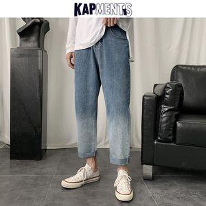 KAPMENTS Men Gradient Korean Fashion Harem Jeans Pants 2020 Mens Harajuku Streetwear Hip Hop Baggy Jeans Male Kpop Denim Joggers