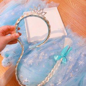 010925 Blue Dream Princess Стиль Rhinestone парика горный хрусталь корону заплести длинные волосы детский ребенка парик оголовье оголовье