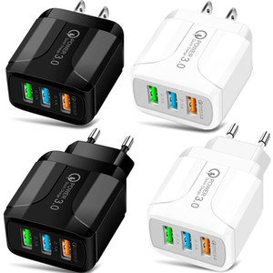 3 ports USB 5V 2.4A Eu US Chargeur Smart Power Plug Adapter pour iPhone Samsung téléphone Android pc mp3