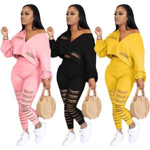 Casual Fatos Sexy Sólidos cores Impresso Buraco Zipper Neck Moda Fatos Women s Roupa 2 Piece Designer Set Outono Womens