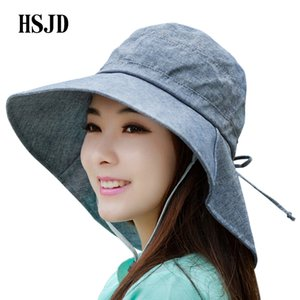lady's summer cotton large wide brim beach hat for women 2020 new fashion bow anti-uv sun hat visors cap female outdoor travel