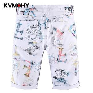 Мужчины Белые джинсы шорты негабаритного Мужские колен Летние Сыпучие Шорты Брюки Человек Pantalon Homme Jean
