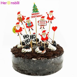 2019 Merry Christmas Paper Cake Cupcake Topper Decorations For Home 2020 Happy New Year Ornaments Santa Claus Tree Xmas