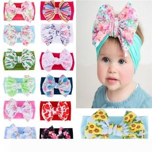 Printed bow Child Headband Bohemian baby hair band Super soft nylon kids Headband Fashion Hair ornament T9I00253