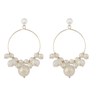 Korea Design Round Pearl Drop Earrings For Women Girl Fashion Big Pearl Dangle Earrings Wedding Bridal Jewelry Gift