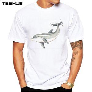 2020 Отпечатано Мужчина T-Shirt Hipster Повседневного T Shirt Tops младенец дельфин тройник способ O-образный вырез с коротким рукавом