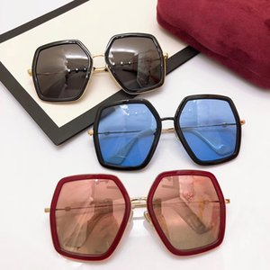 Os mais recentes edição limitada Feminino GG0106S óculos de sol UV400 anti-óculos design56-19-140gradient Big-frame China-vermelho claro fullcase tomada