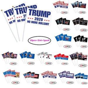 21 stili Trump segnale mano Bandiera 14x21cm Donald 2020 Flags Lettera Stampa Keep America drappellone Carta impermeabile a mano sventolando bandiere WX20-12