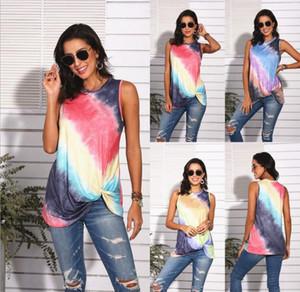 Summer gradient color printed sleeveless vest tank top women tie-tye color round neck t shirt girls fashion casual tshirt S-2XL WF710
