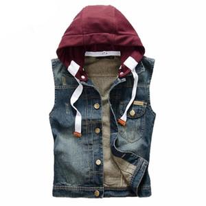 2020 Denim Vest Slim Fit coreana mangas O revestimento dos homens W / chapéu de vaqueiro Homens Vest Washed Jeans Homem de Moda de Nova Regatas