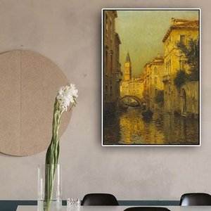 Vintage Landscape Posters Prints Modern Venice Resorts Water Town Oil Painting Wall Art Canvas Picture for Living Room Home Decoration