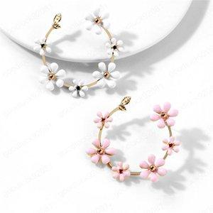 Nuovo smalto degli orecchini del fiore di rame di goccia a olio del fiore Orecchini di accessori moda femminile orecchio dei monili di regalo 2 colori