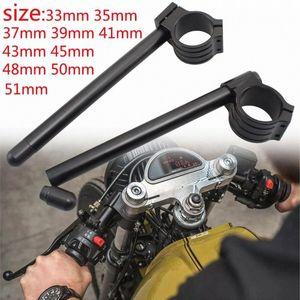 Black Cafe Racer Adjustable Racing CNC 33 35 37 39 41 43 45 48 50 51mm Motorcycle Clipon Clip On Front Fork Handlebar Handle Bar H0mf#