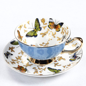 Bone China Coffee Cup Sets papillon coloré tasses en céramique thé et Soucoupes Bureau britannique Teacup Porcelaine de Nice Cadeau