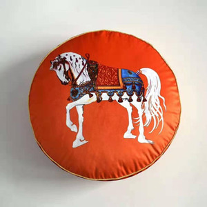 Printed Round Velvet Throw Pillow Seat Chair Europe Vintage Home Decor Cushion Case Round Shape Horse Decorative
