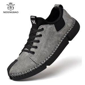 Неподдельной кожа мужской Комфорт Повседневная обувь 2020 Мода Рука Строчка Горох обуви для мужчин Ленивого вождения Большого размера 38-46
