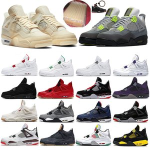 2020 Sail 4 4s SE Neon réfléchissant vert métallique Chat noir Jumpman Hommes Chaussures de basket-ball de ciment blanc Hommes Baskets femme sport Chaussures de sport