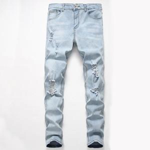 Mens nuova personalità di modo strappato Slim Fit Zipper Denim stretch Pantaloni Mens Super Skinny Jeans Nuovo arrivo