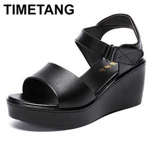 TIMETANG 2020 donne di estate zeppa 6cm tacco medio comodi sandali nero bianco rosso