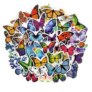 Pack of 50pcs Wholesale colorful butterfly Stickers boy girls sticker collection Guitar Laptop Skateboard Motor Bottle Car Decal Bulk Lots