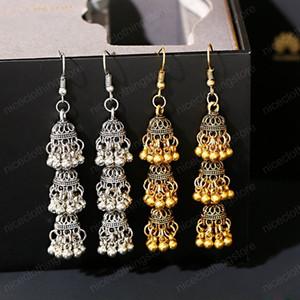 Retro Ethnic Bollywood Kundan Three-layer Drop Indian Earrings For Women Brincos Boho Vintage Bell tassel Gypsy Fashion Jewelry