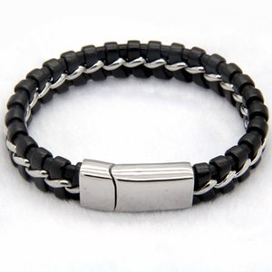 2020 Unique Designer Stainless Steel Bracelets & Bangles Mens Gift Black Leather Knitted Magnetic Clasp Bracelet Men Jewelry