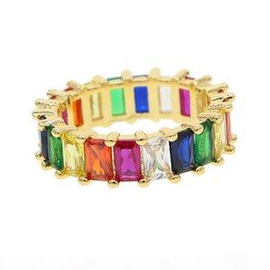 R 2018 mujeres color del arco iris de la CZ de compromiso anillo de la venda para las mujeres de lujo de la joyería de las mujeres magníficas europeos de alta calidad Completo CZ Eternidad Banda