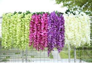 2019 White Green Artificial Flowers Simulation Wisteria Vine Wedding Decorations Long Silk Plant Bouquet Door Room Office Garden