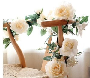 1 .7m Artificial Silk Fábrica Falso Partido da Folha Rose Flor Ivy Vine Garland casamento Home Decor