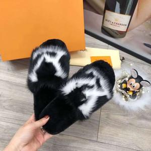 Louis Vuitton LV slippers llena de pelo de visón hogar y el hotel zapatillas cómodas suelas Últimas Luz y cálidos para mujer suave zapatillas de cuero de piel Xshfbcl