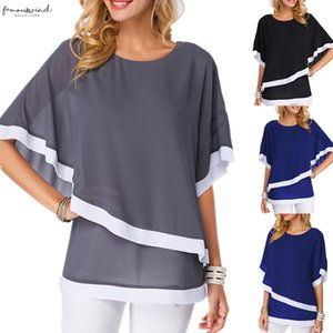 Summer Women Chiffon Shirt 2020 Bat Sleeve Stitching Irregular Loose Casual 5Xl Big And Plus Size Blouse For Female Tunic
