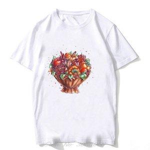 Fashionable Fruit Bouquets Flowers Illustrations Vogue Print Short Sleeve White Cotton T-shirt Men Tee Shirt Women Harajuku
