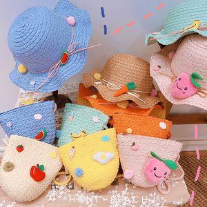 HD6288A05 powder is cute juicy peach fruit children straw bag fruit macaron sunhat sun hat summer