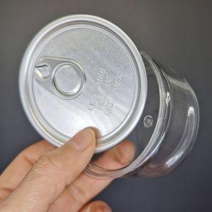 3.5G PET clair Tin Can fleur herbe sèche Childproof concentré conteneurs 100ML Capacité 33 * 65MM Airtight pot en plastique avec couvercle de qualité alimentaire