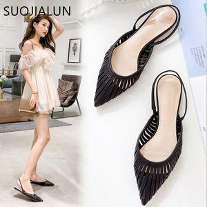 SUOJIALUN 2019 New Women Flat Sandals Brand Design Pointed Toe Slip On Sandal Mule Low Heel Strap Dress Women Outdoor Slides cs05